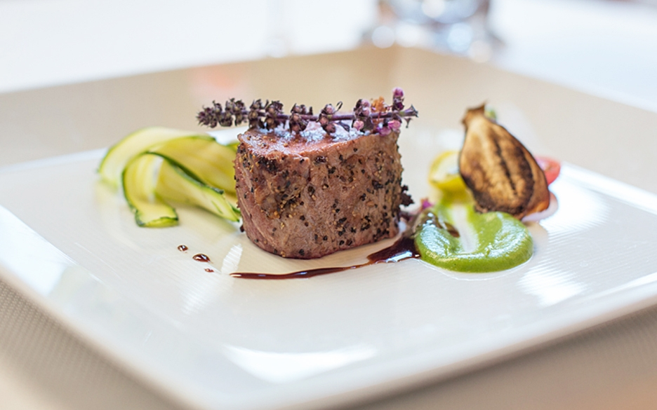 Kalamata Crusted Colorado Lamb Loin made by Executive Chef Fabrice Hardel of The Westgate Hotel San Diego