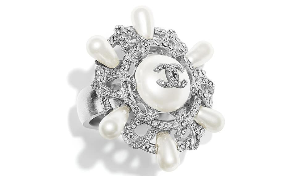 Chanel Brooch in Metal & Resin or Metal, Glass & Pearl Strass
