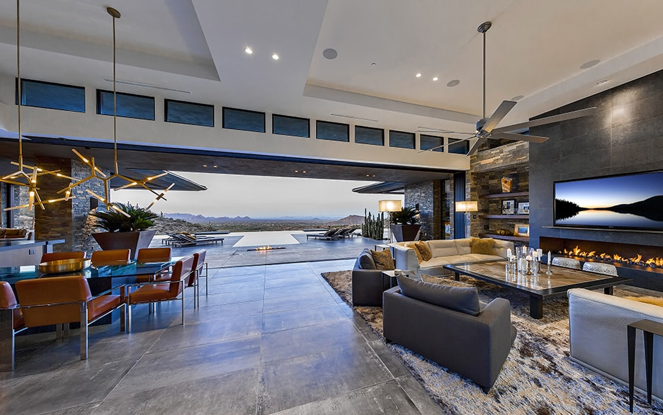 Living room view at Lap pool at Floating stairway at Saguaro Forest 244 luxury real estate listing