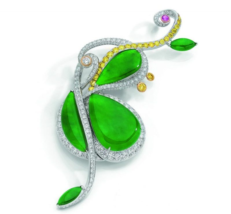 Anna Hu Jadeite Cello Brooch. Selling at Sothebys