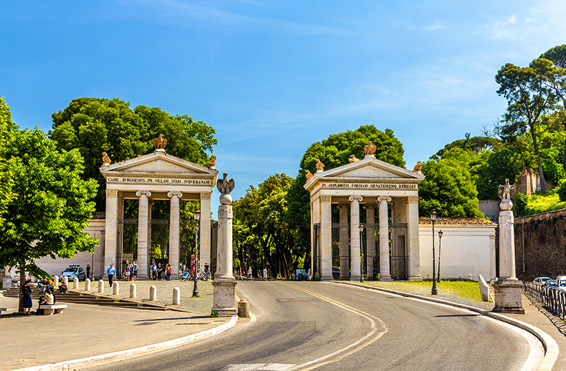 Monumental entrance to the Villa Borghese in Rome. Photo courtesy of Leonid Andronov