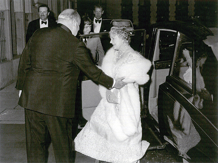 Her Majesty The Queen Mother arriving at The Savoy, 1980