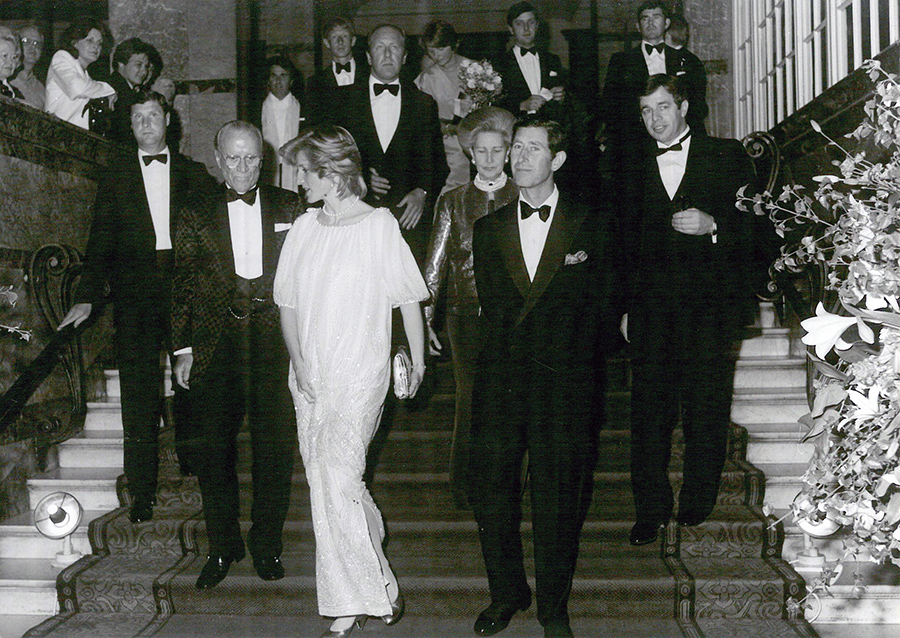 The Prince and Princess of Wales arrive for an event at The Savoy in 1984