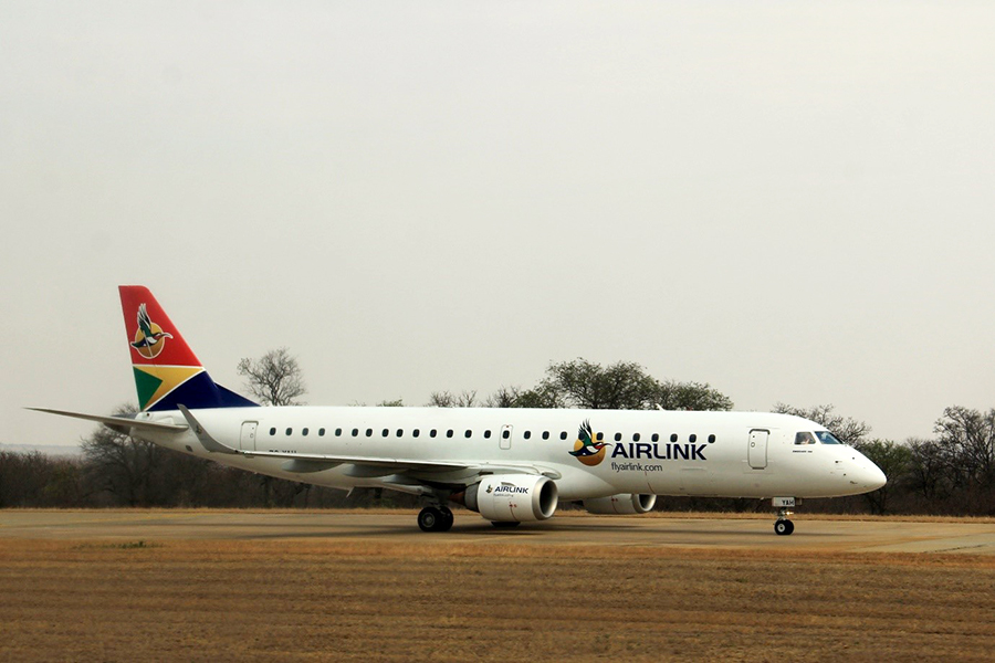 Airlink's glorious Embraer E-Jet at Hoedspruit Airport. Photograph by Heléne Ramackers