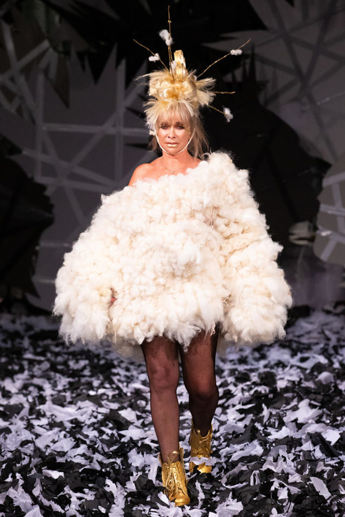 VIN + OMI Jo Wood wearing STING with Prince Charles collection at London Fashion Week Sept 19