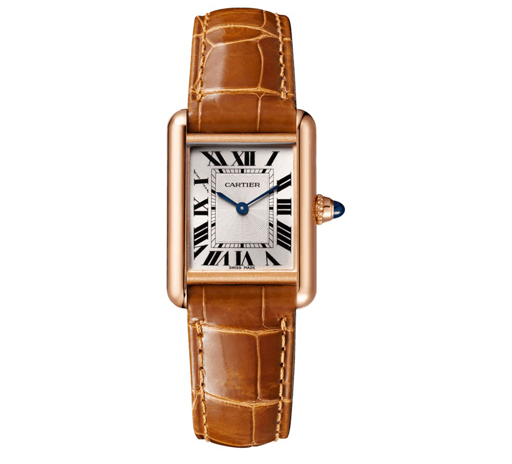 Cartier Tank with brown strap, an iconic watch