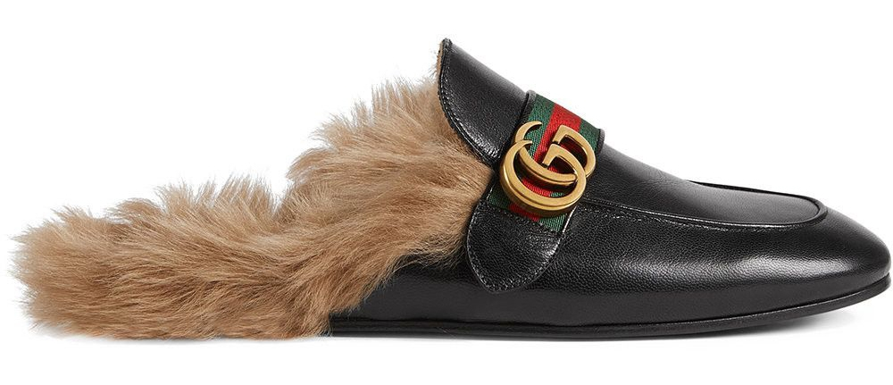 Gucci Princetown Crocodile Slipper with Double G, leather designer shoes