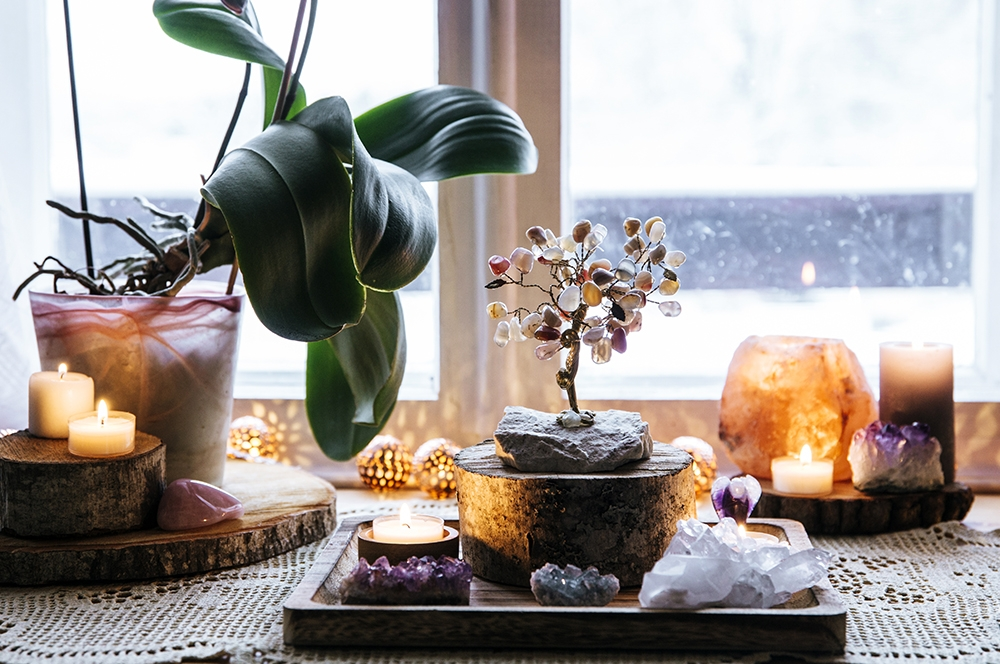 Feng Shui nature theme altar at home table and on window sill.
