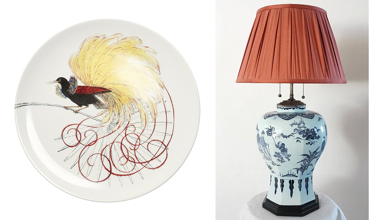 Birds of Paradise Plate + Acroterion Lamp