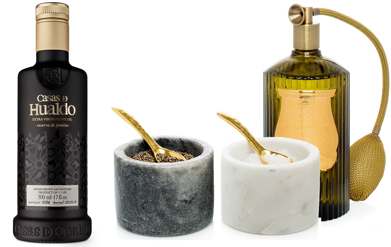 Olive Oil and Trudon room spray and column marble salt and pepper from Trudon