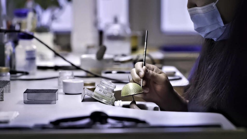A layer of enamel is hand painted. Credit Fabergé