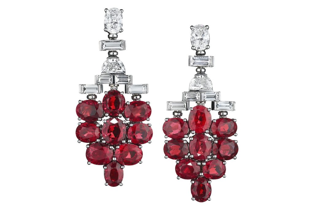Platinum High Ruby Jewelry Earrings by Bulgari