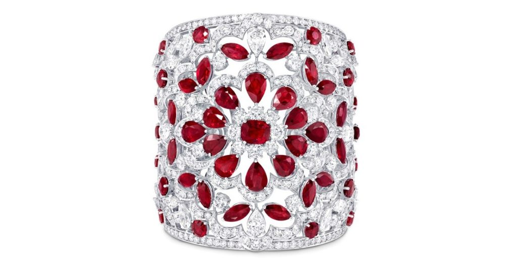 Ruby and Diamond High Jewelry Cuff by Graff
