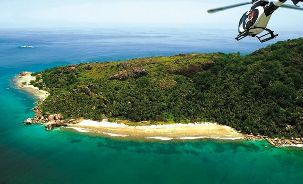 Seychelles resort by helicopter