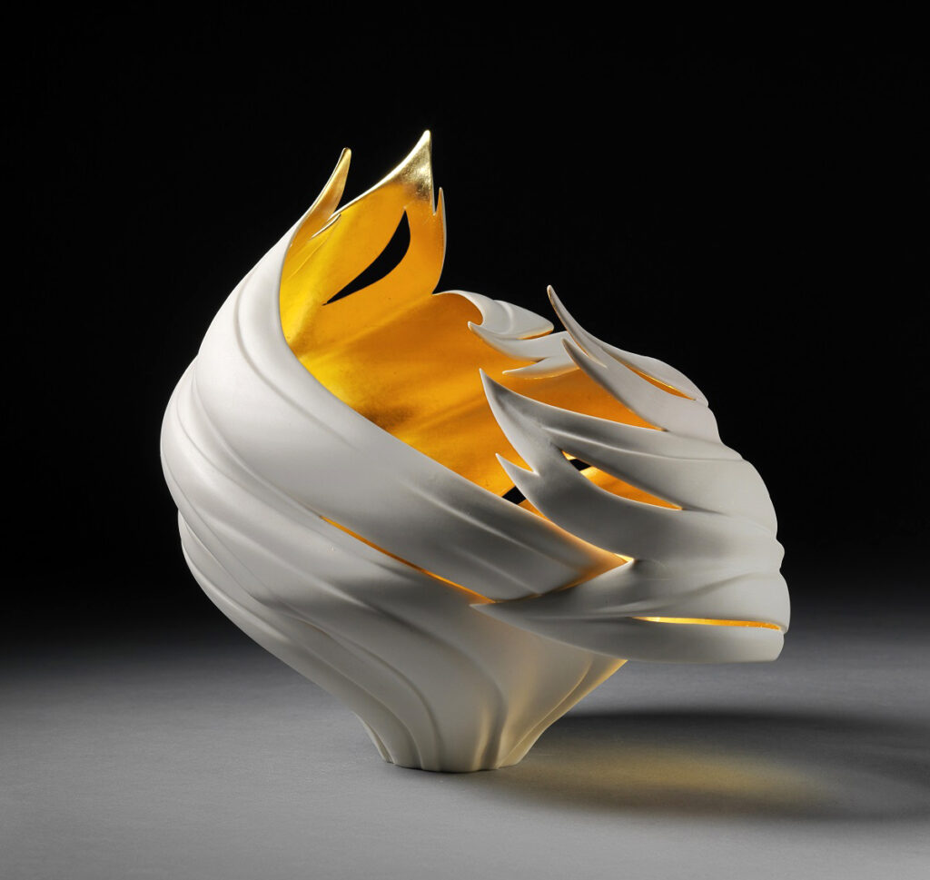Gilded Wind Vessel porcelain by Jennifer McCurdy