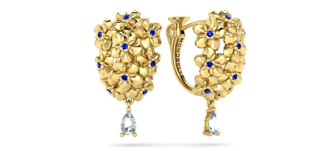 Mondselle, Hope earrings with blue sapphires set in 18k gold, Hope collection.