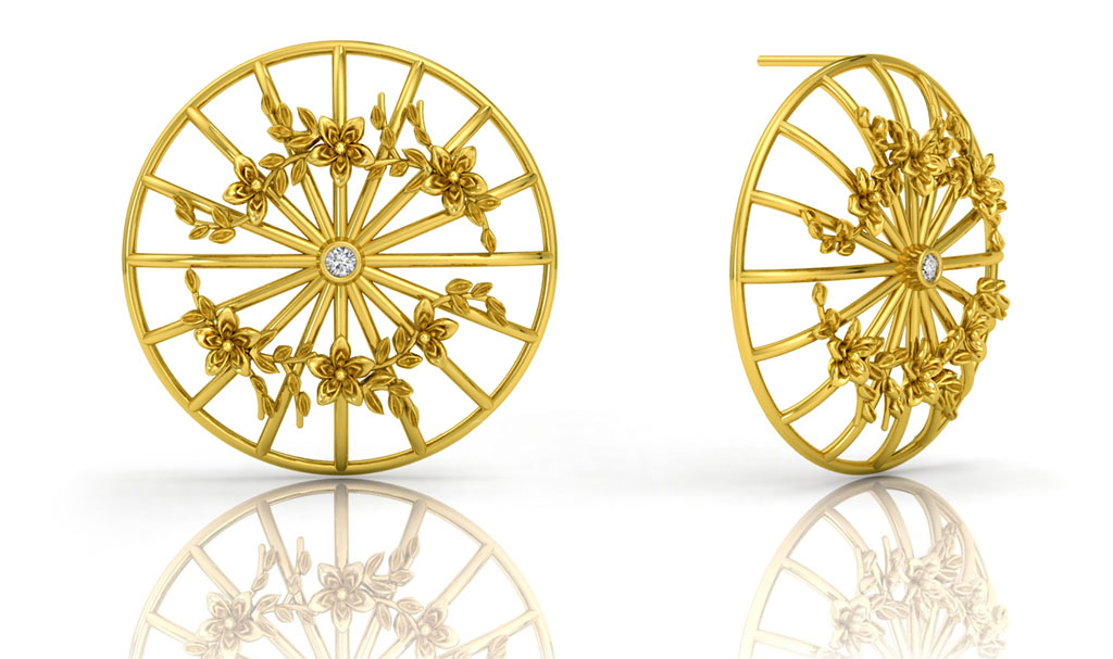Mondselle, Pathein studs set in 18K gold and white sapphire. These earrings incorporate traditional Burmese elements of the Pathein umbrella. All pieces are handmade in Toronto.