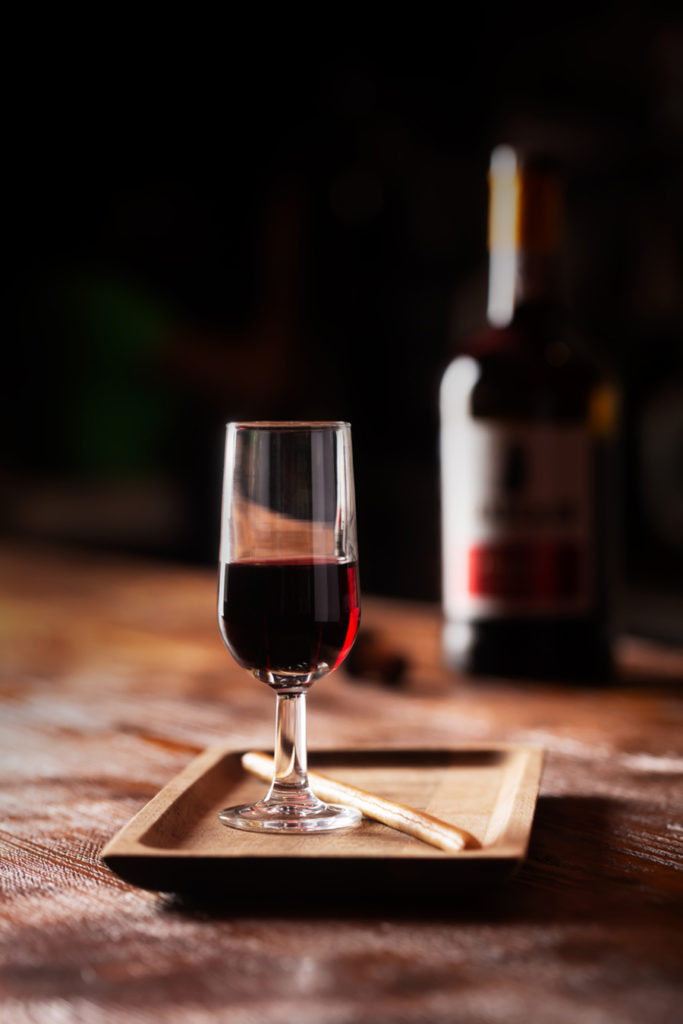 Glass of port alcoholic drink